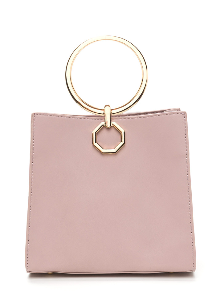 Square Away Faux Leather Ring Bag MAUVE