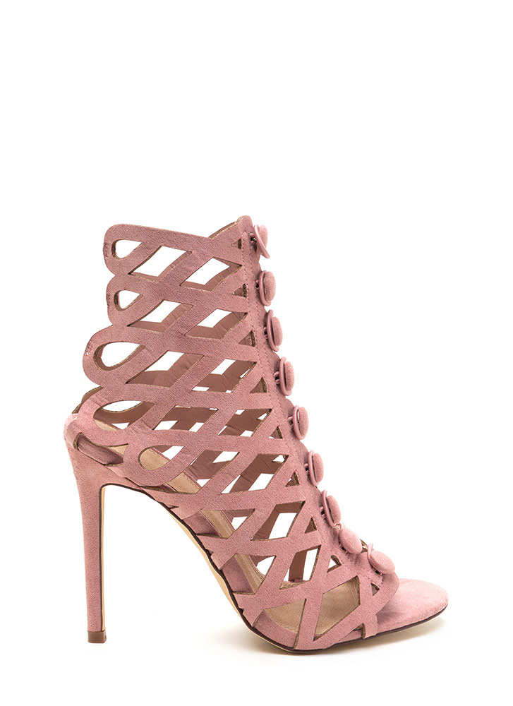 Chic Influencer Cut-Out Caged Heels DUSTYPINK