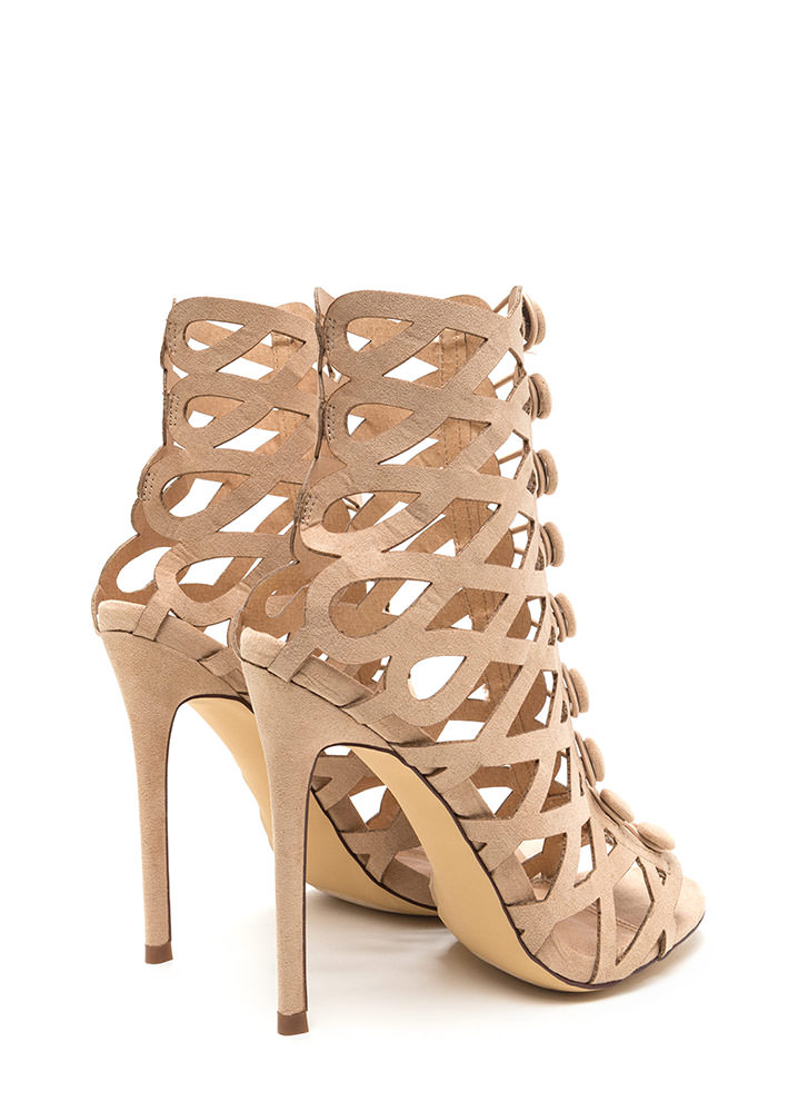 Chic Influencer Cut-Out Caged Heels NUDE