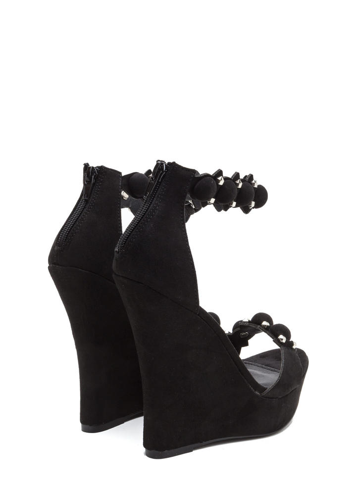 True Stunner Faux Suede Platform Wedges BLACK
