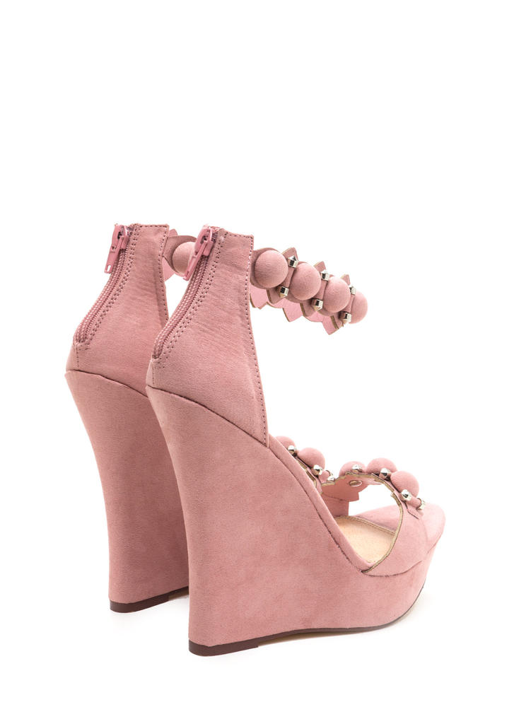 True Stunner Faux Suede Platform Wedges DUSTYPINK