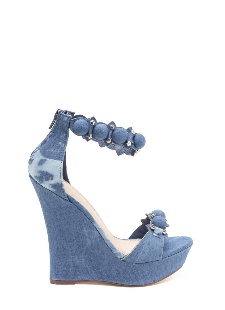 True Stunner Denim Platform Wedges BLUEWASH