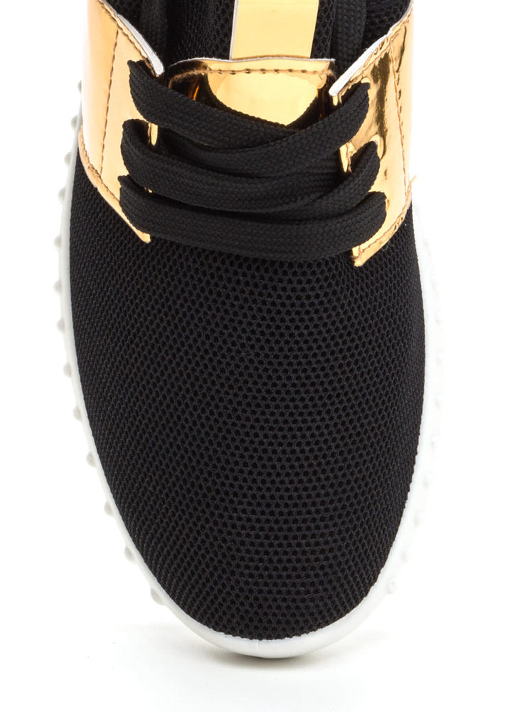 Show Your Metal Lace-Up Mesh Sneakers BLACK