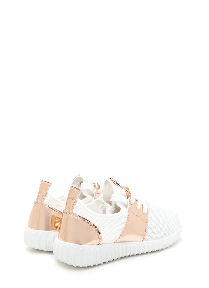 Show Your Metal Lace-Up Mesh Sneakers WHITE
