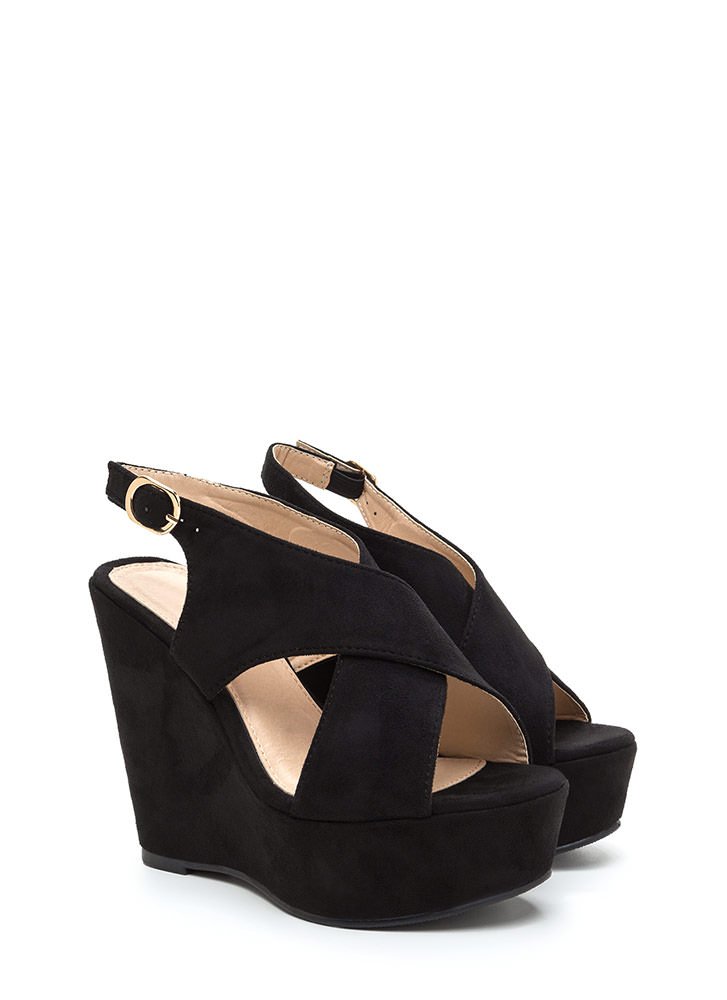 Casual VIP Crisscross Platform Wedges BLACK