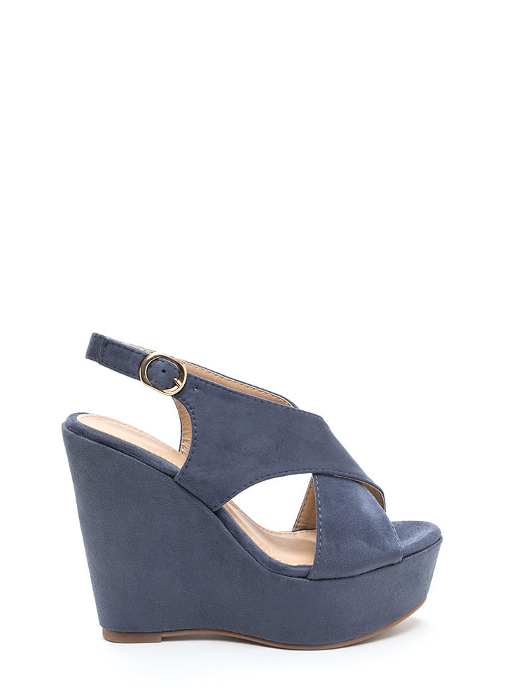 Casual VIP Crisscross Platform Wedges BLUE