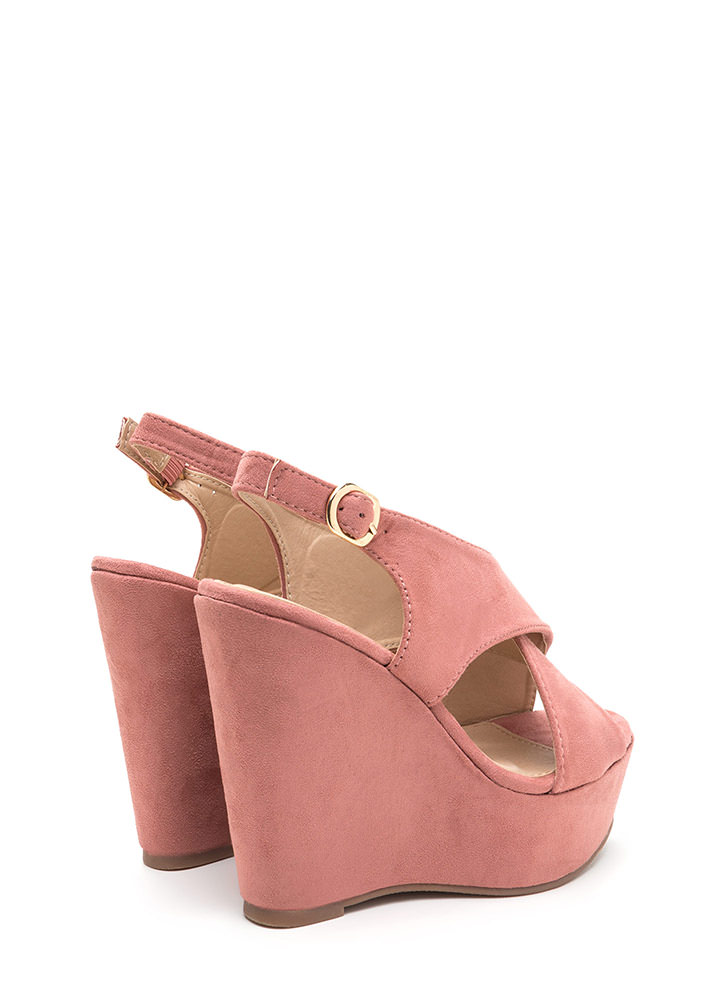 Casual VIP Crisscross Platform Wedges DUSTYPINK