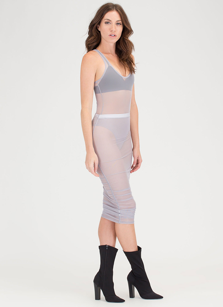 See Thru It All Ruched Sheer Mesh Skirt GREY