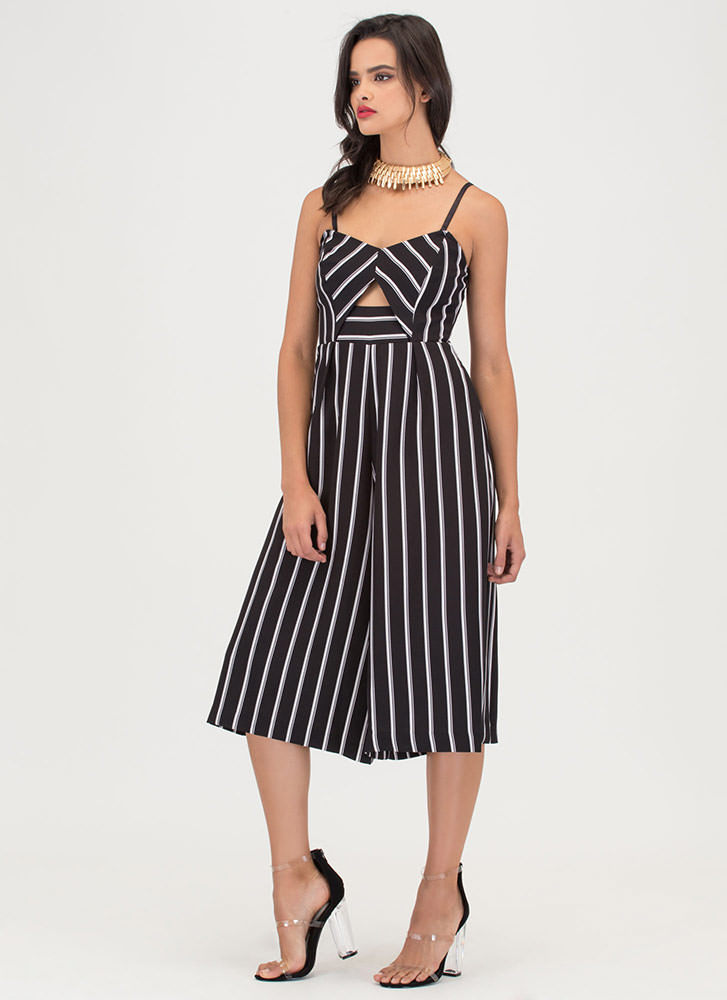 Serious Stripes Cropped Palazzo Jumpsuit BLACKWHITE