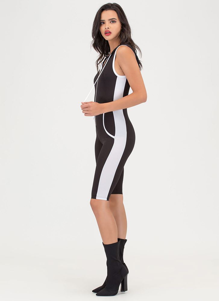 Sporting Chance Striped Hooded Jumpsuit BLACK
