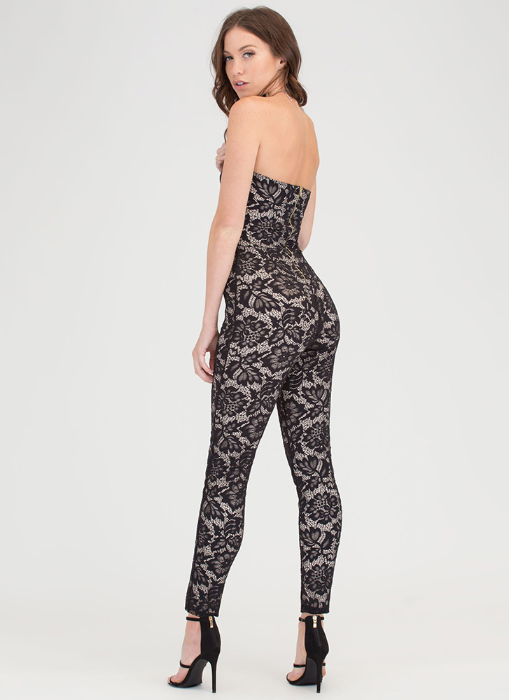 Strapless In Seattle Lace Jumpsuit BLACK