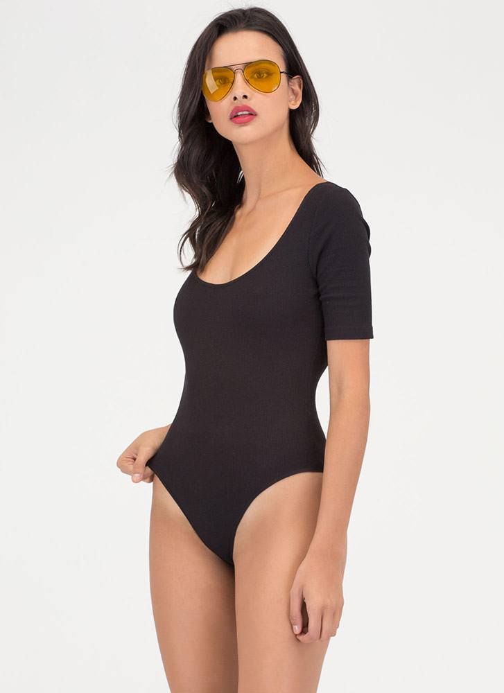 Ready To Go Rib Knit Scoop Bodysuit BLACK