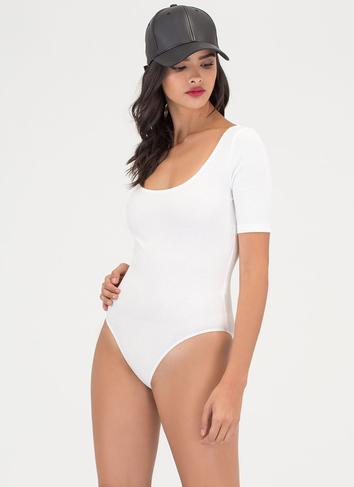Ready To Go Rib Knit Scoop Bodysuit OFFWHITE
