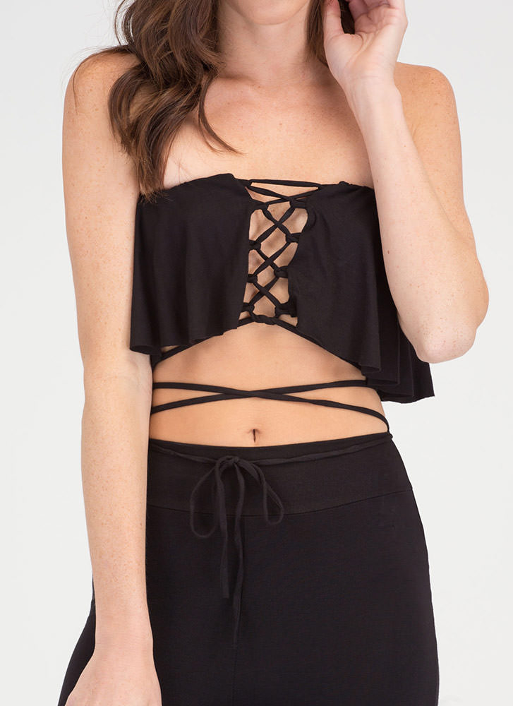 Easy Vibe Lace-Up Top 'N Pants Set BLACK
