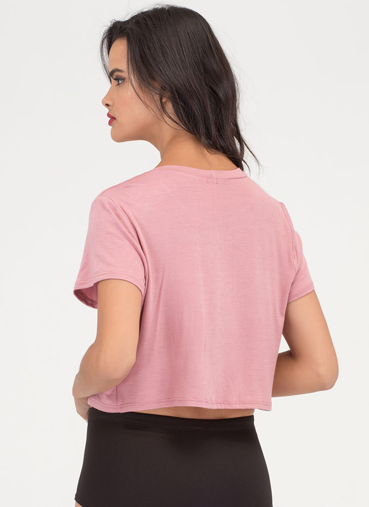 Single Blossom Embroidered Crop Tee MAUVE