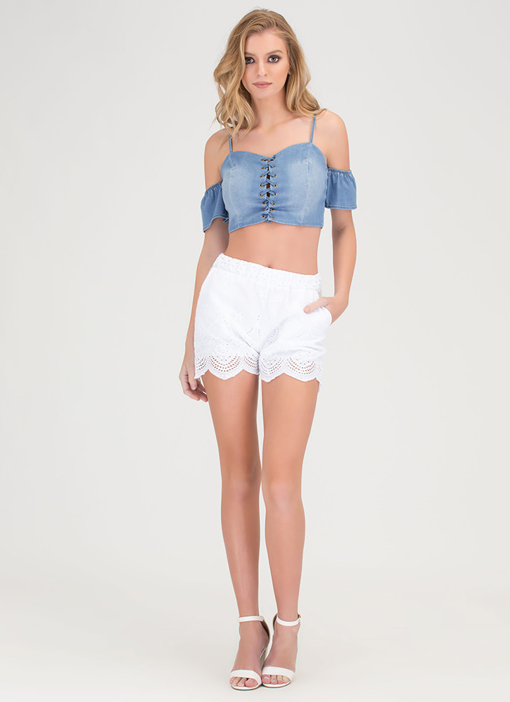 Denim Duty Off-Shoulder Crop Top BLUE