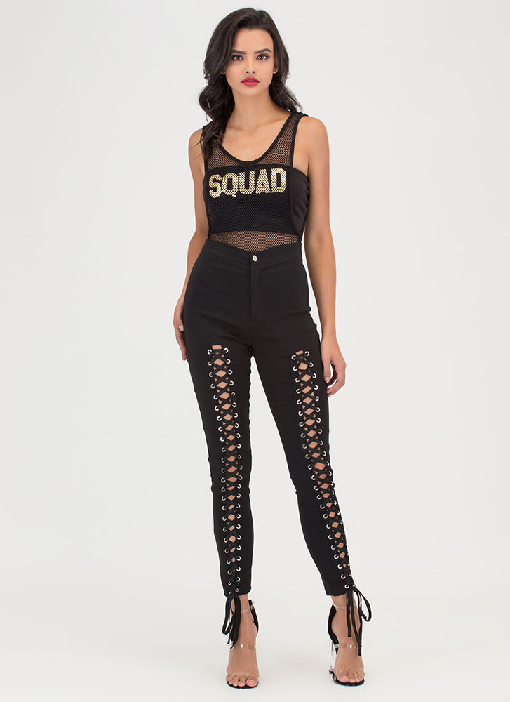 Squad Goals Sheer Fishnet Bodysuit BLACK