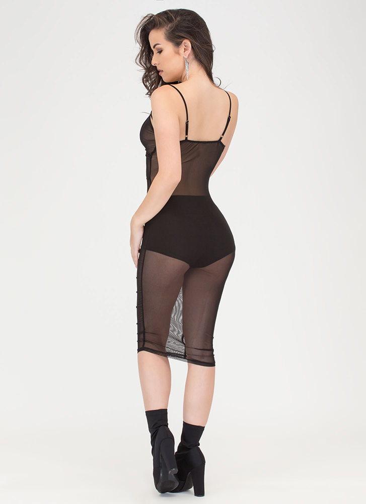 After Midnight Sheer Caged Bodycon Dress BLACK