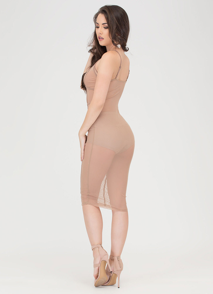 After Midnight Sheer Caged Bodycon Dress NUDE