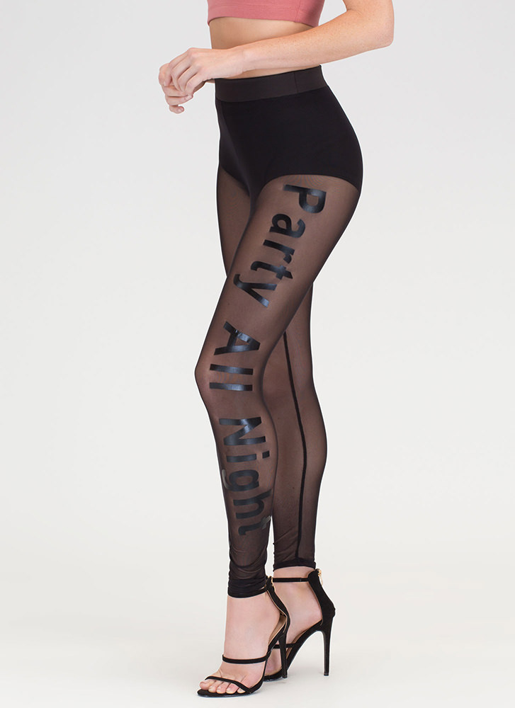Party All Night Sheer Mesh Leggings BLACK