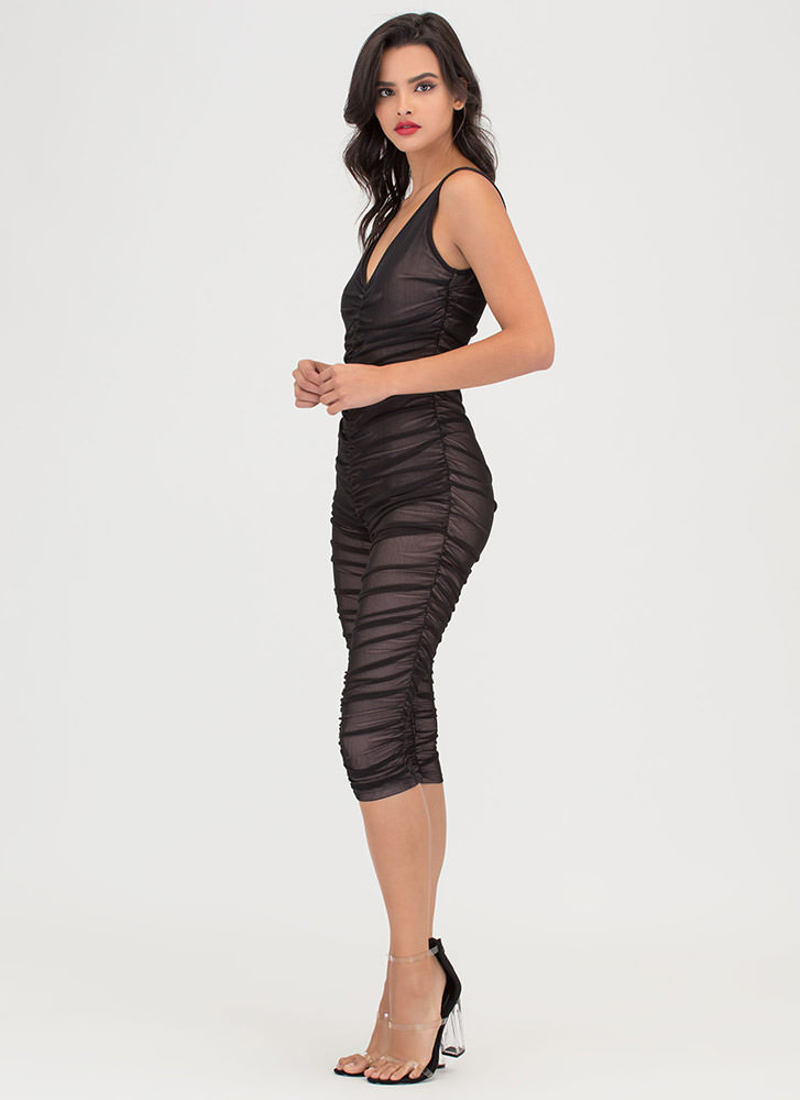 One 'N Done Plunging Ruched Jumpsuit BLACK