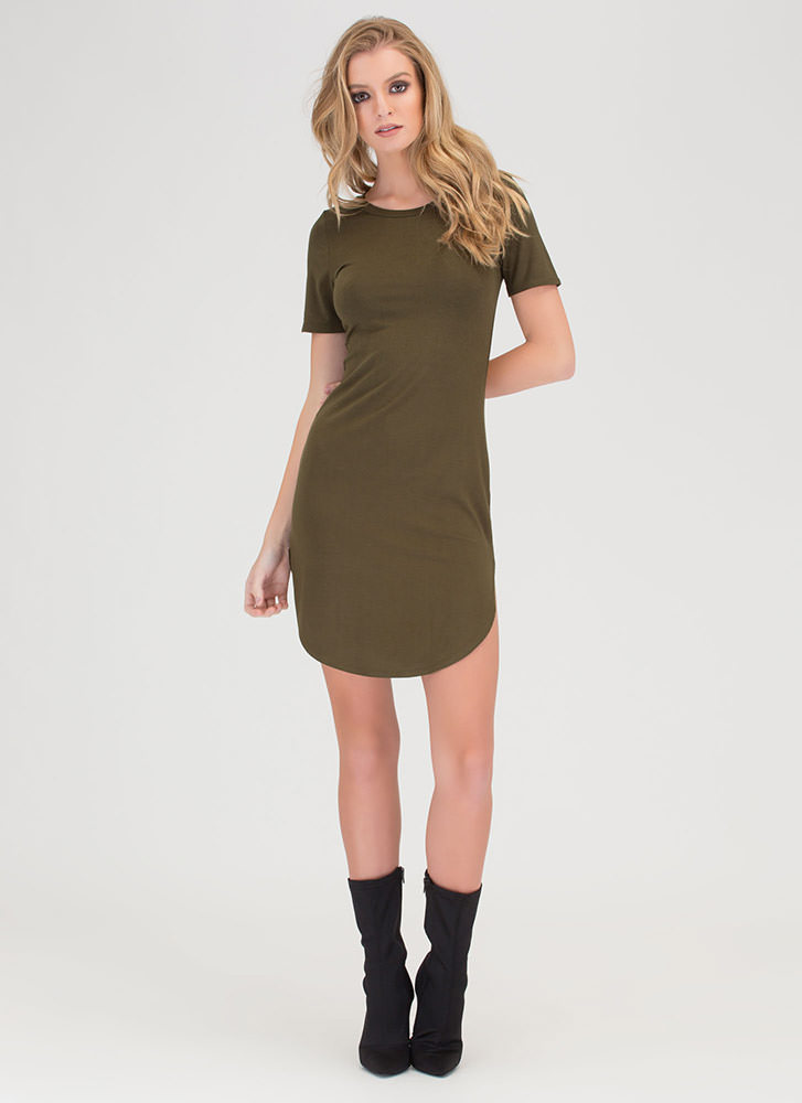 New Bae-sic Bodycon Tee Dress OLIVE