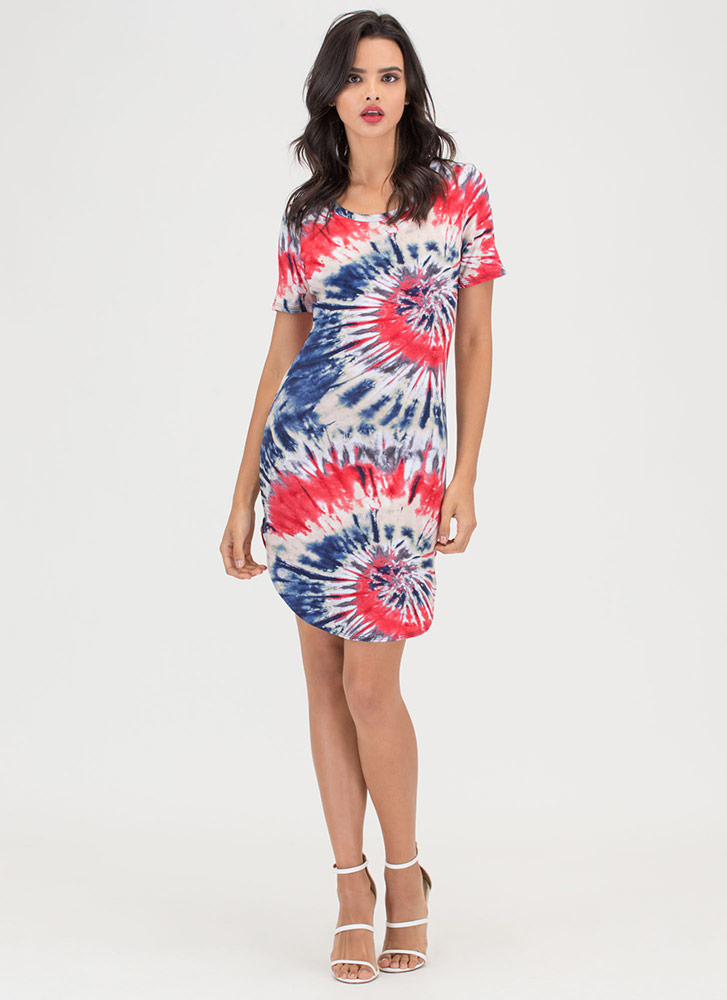 Island Chic Tie-Dye Mini Tee Dress REDNAVY