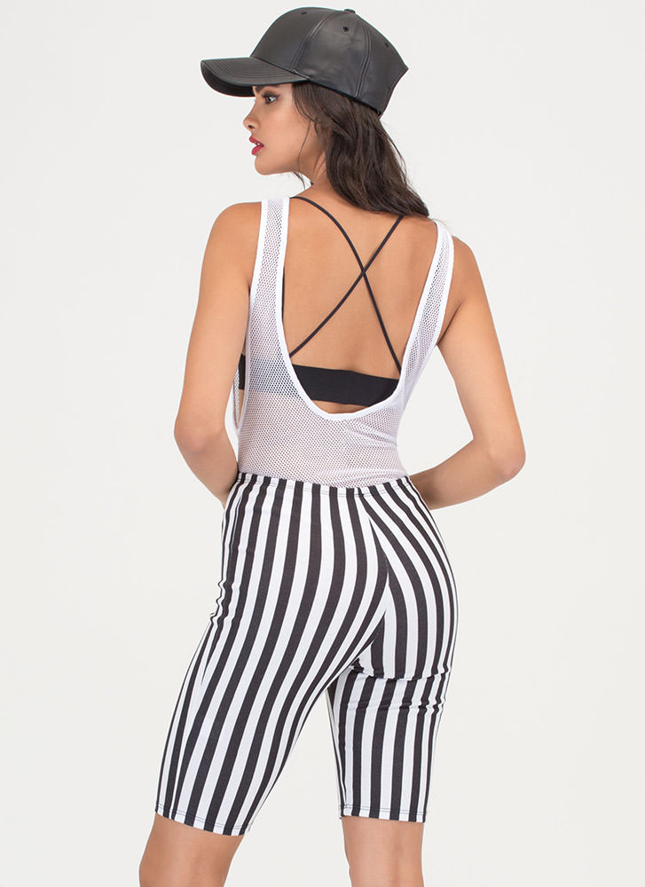 Front Of The Line Striped Shorts BLACKWHITE