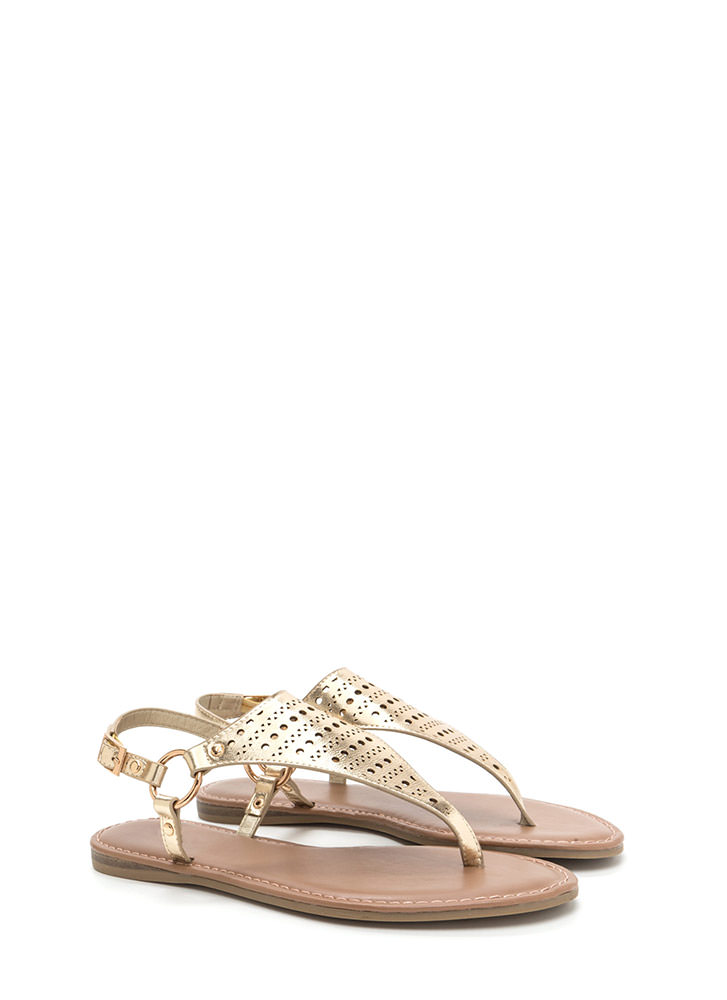 Shape Up Perforated Metallic Sandals GOLD