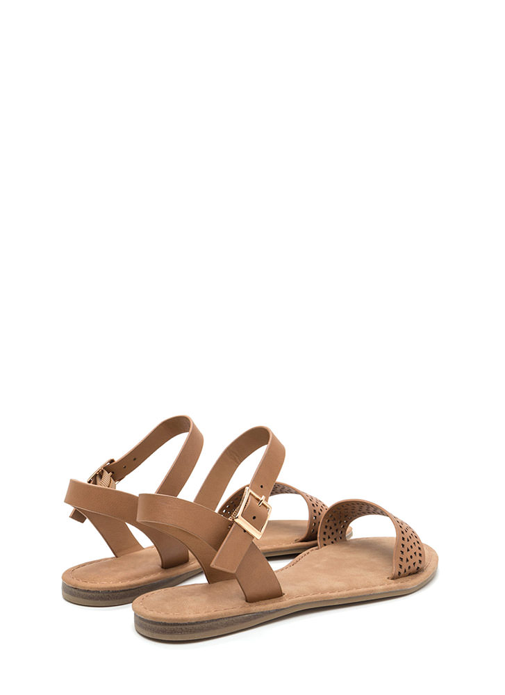 Lovely Lattice Ankle Strap Sandals TAN