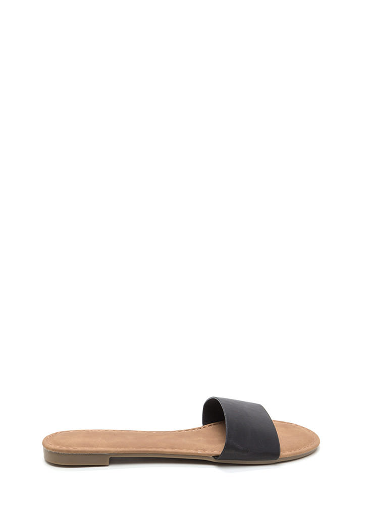 Slipper Away Faux Leather Sandals BLACK
