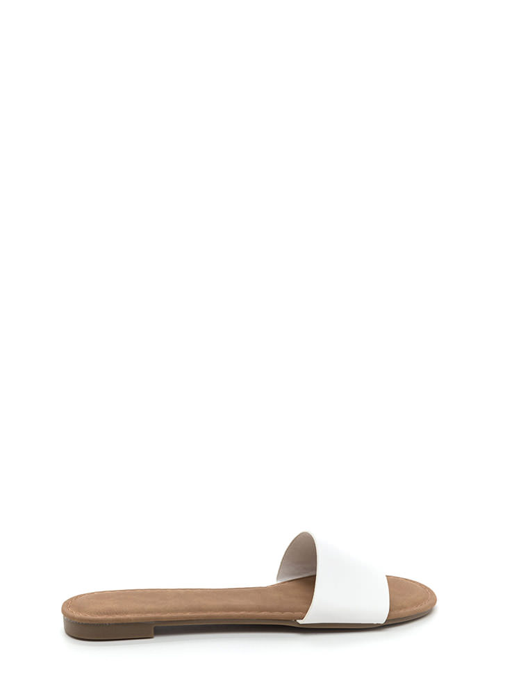 Slipper Away Faux Leather Sandals WHITE