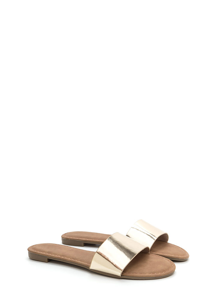 Slipper Away Faux Patent Sandals GOLD
