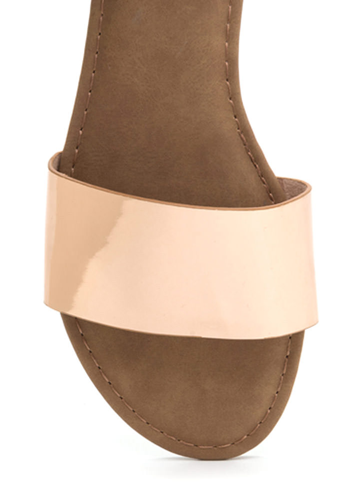 Slipper Away Faux Patent Sandals ROSEGOLD