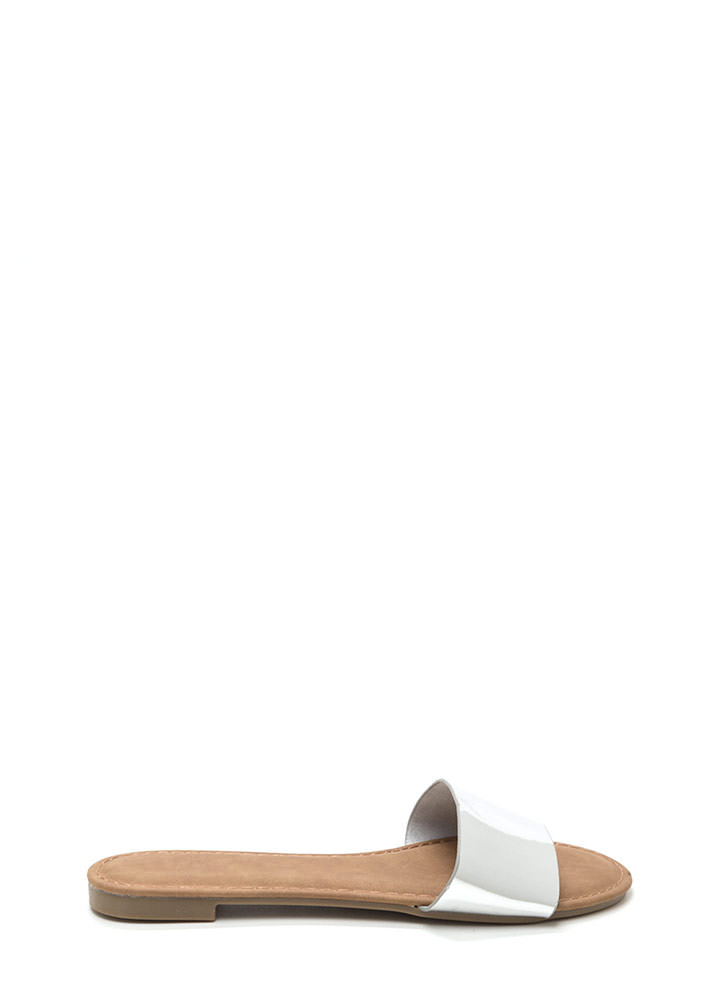 Slipper Away Faux Patent Sandals SILVER