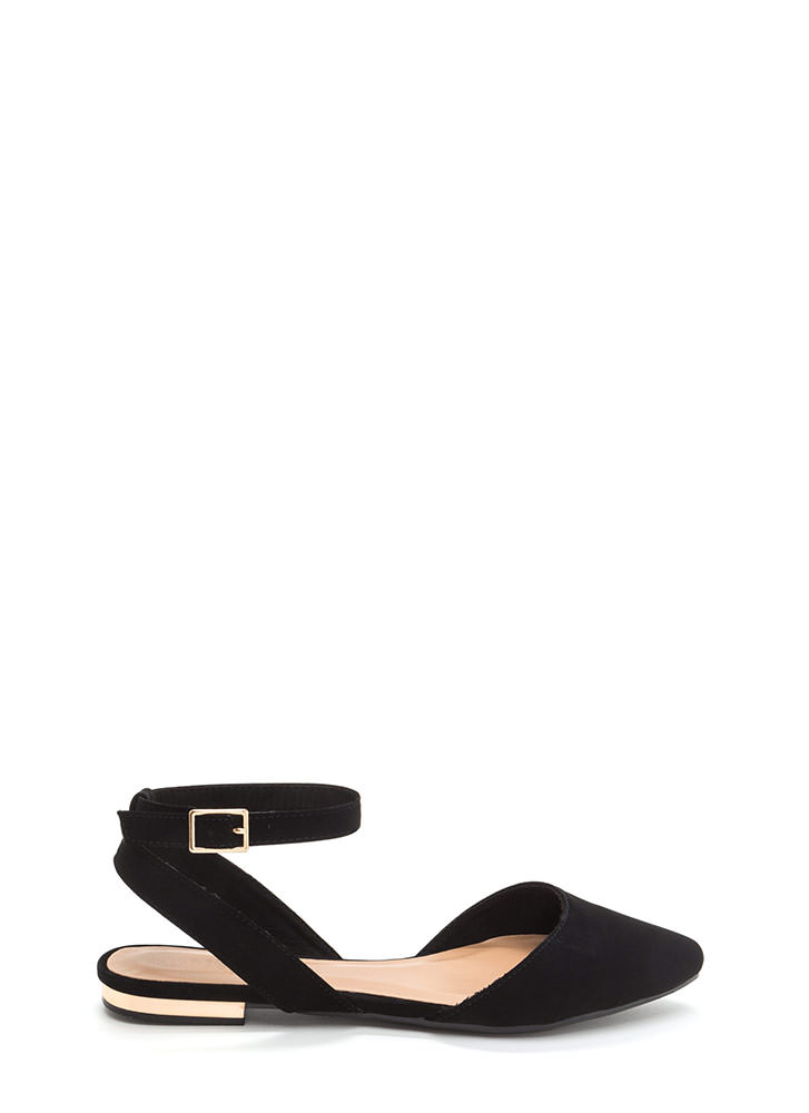 Chic For You Faux Nubuck Sandals BLACK