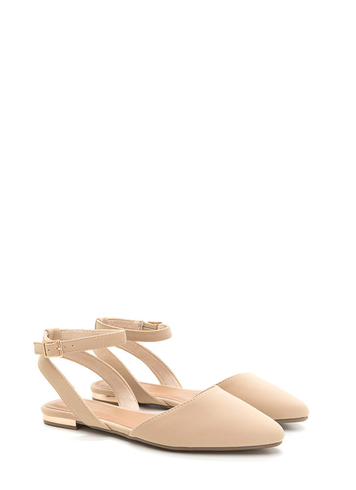Chic For You Faux Nubuck Sandals NUDE