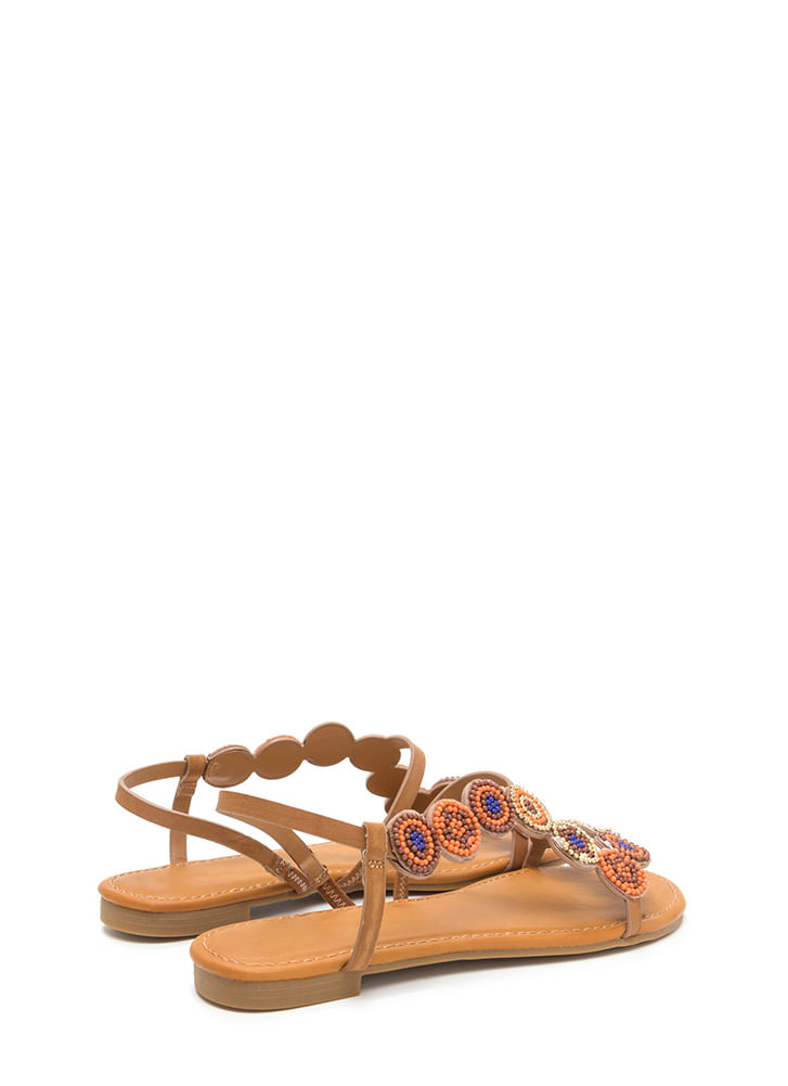 Circle Around Strappy Beaded Sandals NATURAL