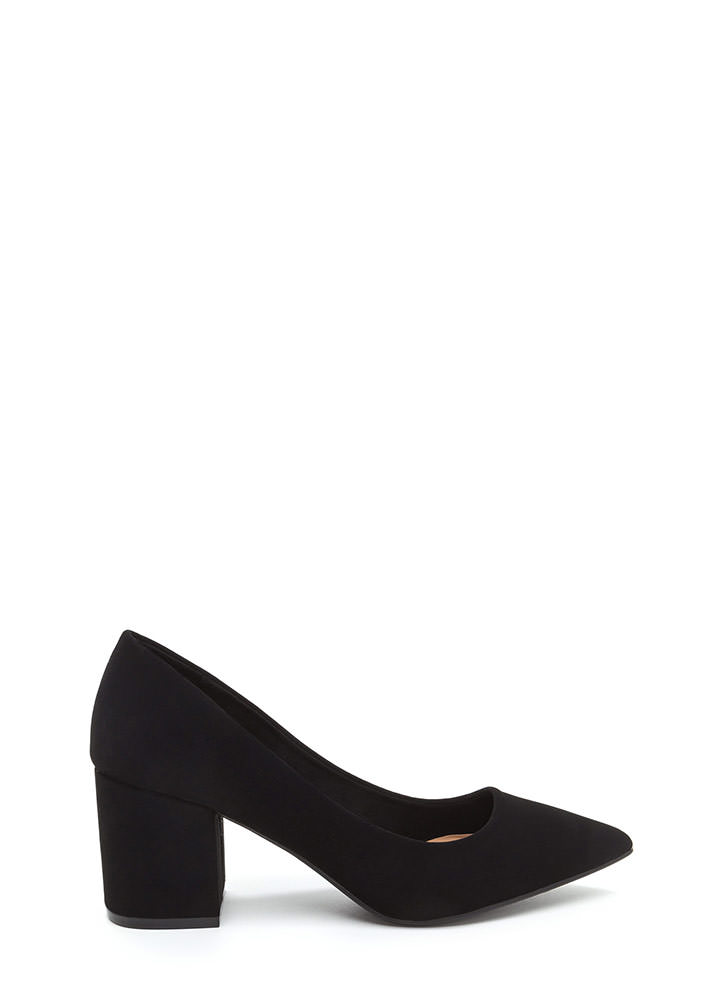To The Point Faux Nubuck Chunky Heels BLACK