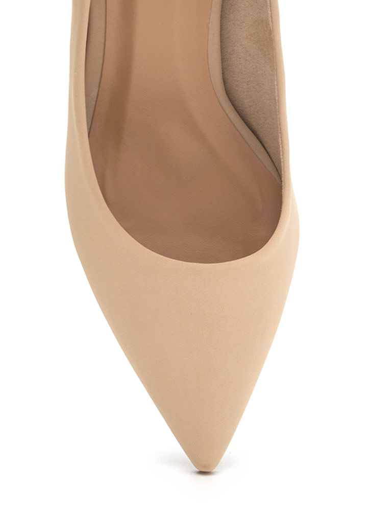 To The Point Faux Nubuck Chunky Heels NUDE