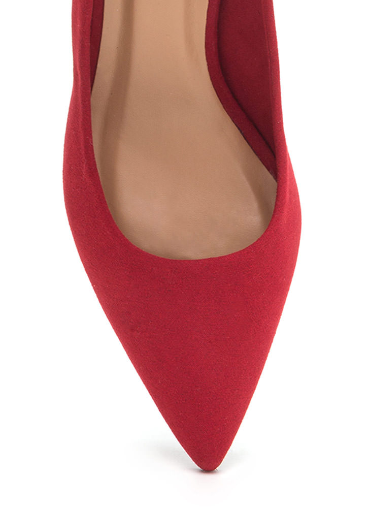 To The Point Faux Suede Chunky Heels RED