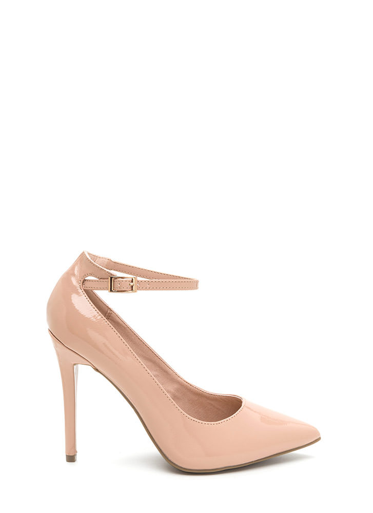 Match Point Faux Patent Heels NUDE