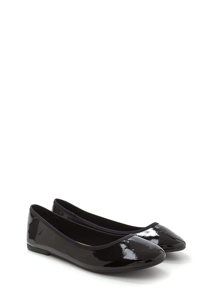 Go Anywhere Faux Patent Ballet Flats BLACK