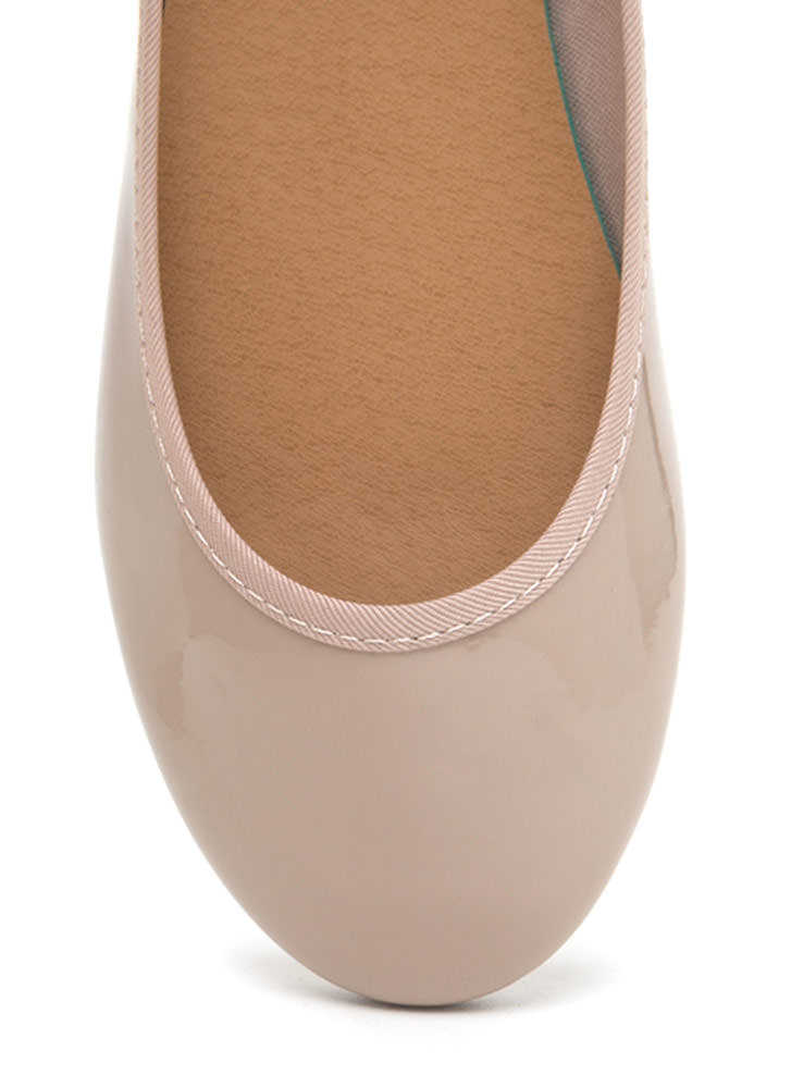 Go Anywhere Faux Patent Ballet Flats NUDE