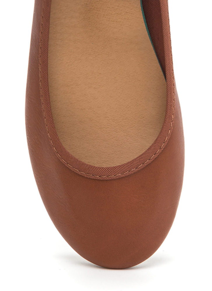 Go Anywhere Faux Leather Ballet Flats CHESTNUT