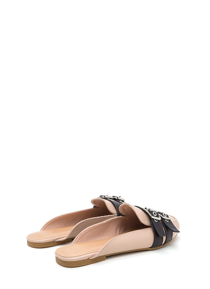 Tomboy Style Faux Leather Mule Flats NUDE