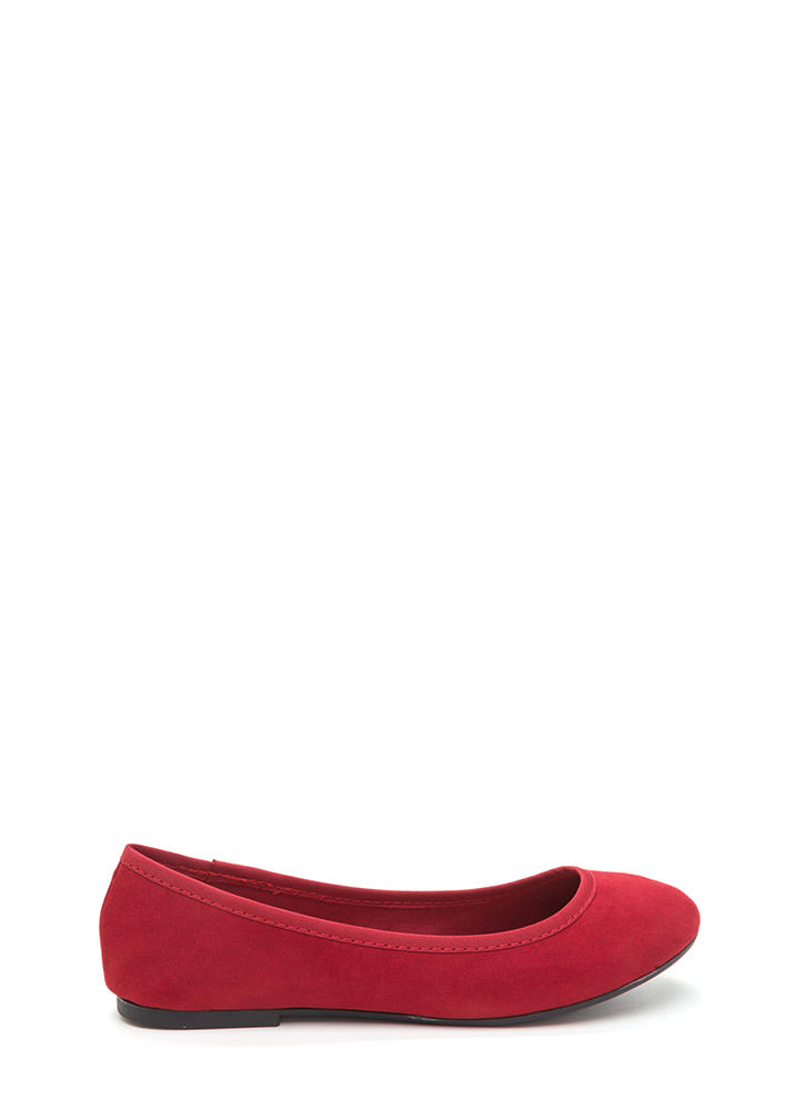 Go Anywhere Faux Suede Ballet Flats RED
