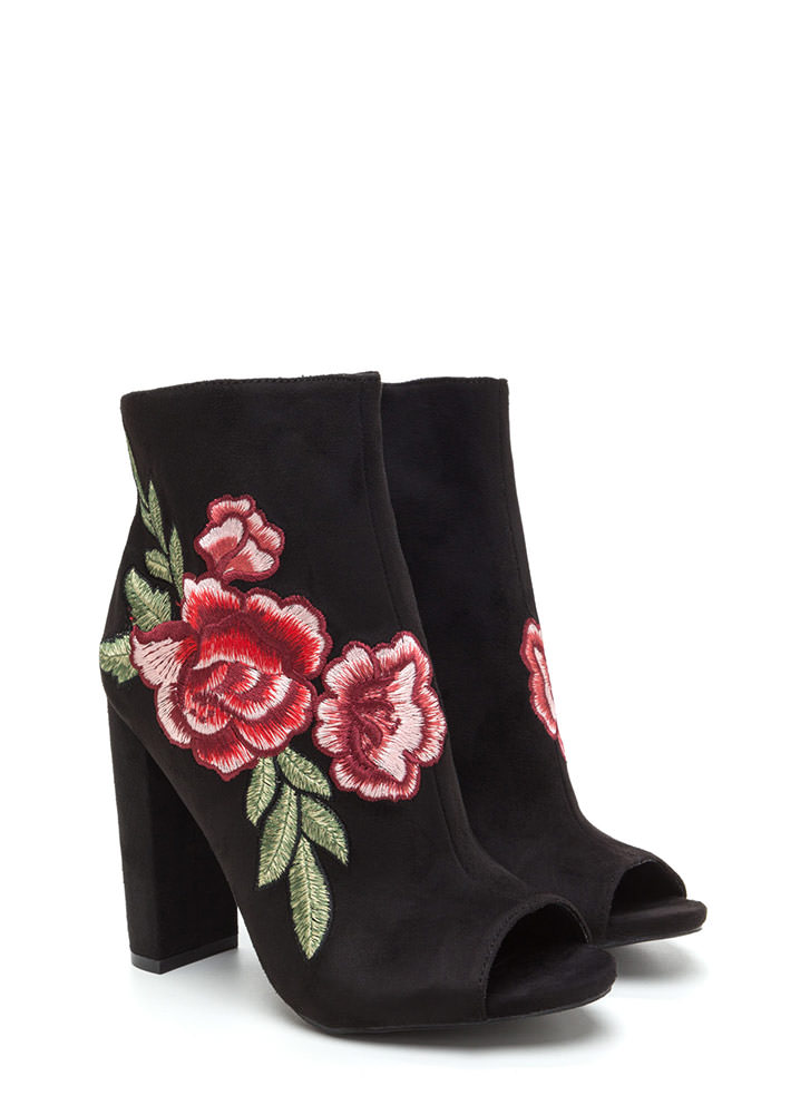 Blooms Away Chunky Faux Suede Booties BLACK