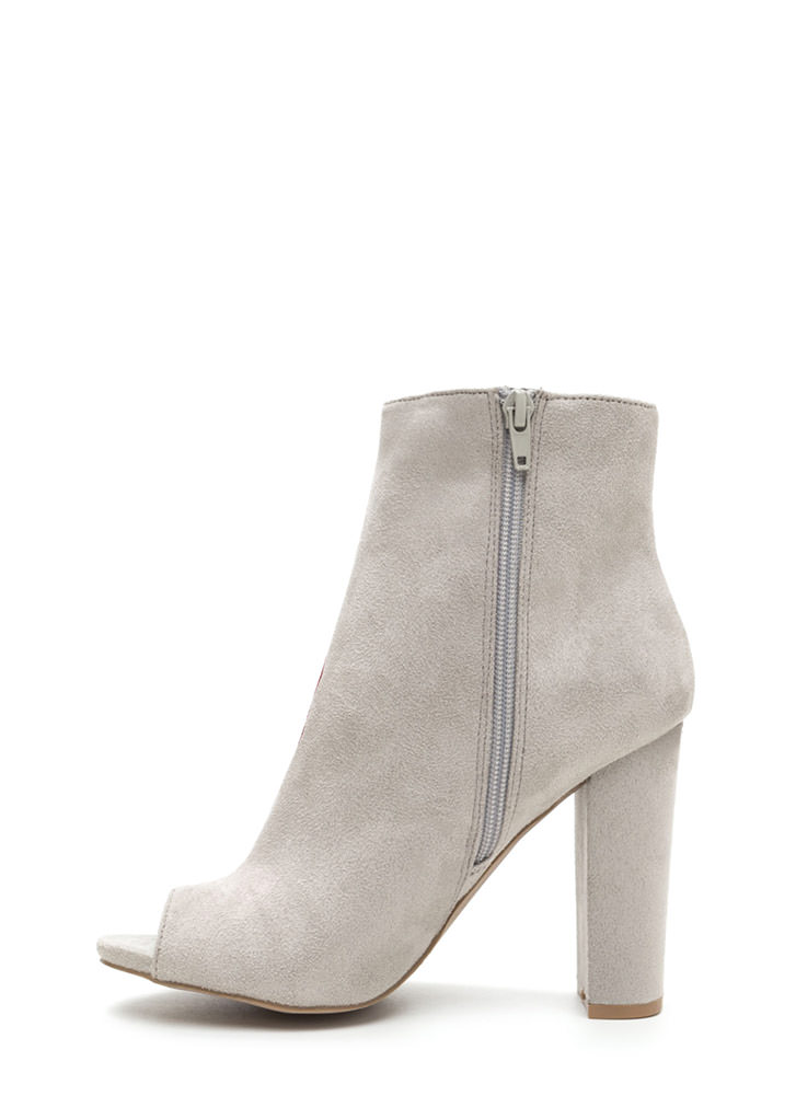 Blooms Away Chunky Faux Suede Booties LTGREY
