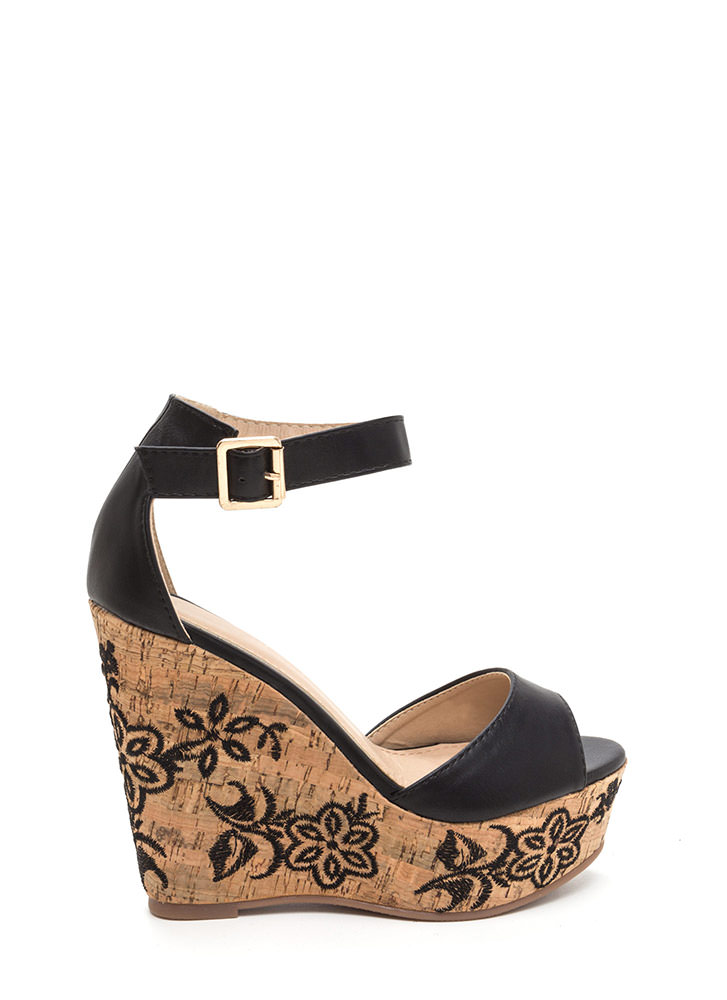 Bloom For More Faux Leather Wedges BLACK